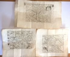 Hungary and Transylvania, United Russia, Kingdom of Poland and its borders; Vallemont. - 3 copper engravings - 1730 ca