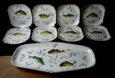 Franz Anton Mehlem: Extraordinary fish service set, 9 pieces