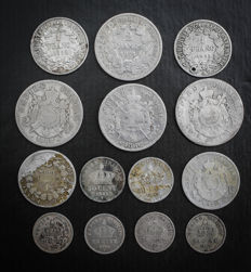 France - Lot of 14 coins (20 Centimes to 2 Francs) 1852-1895 - Silver.