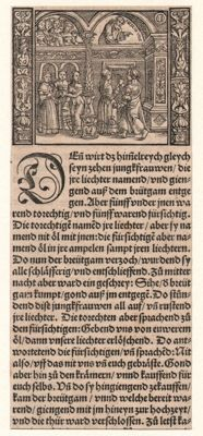 Froschau Bible: The wise and foolish virgins - 1525-1528; added: 2 woodcuts by Christoffel van Sichem (1580-1658)