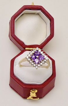 "Quality gold ring by ""C.J."" 1.4ct  natural Princess cut Amethyst & 20 Diamonds - NO reserve"