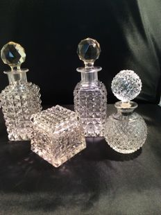Four crystal dressing table accessories, 20th century