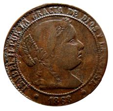Spain - Isabel II (1833–1869) - 2 1/2 escudo cents in copper (5.76 g,  and 25 mm). Barcelona. (OM) - 1868.