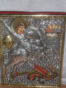 holy george and the dragon-precious metal,silver plated -Russia -20e century