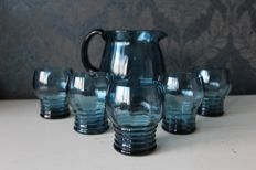Antique blue crystal water jug with 5 glasses (roemers)