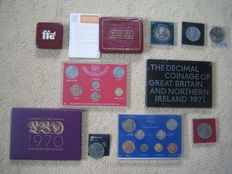 United Kingdom and Commonwealth - Lot with various coins and coin sets (11 items)