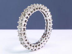 1.24 Ct full eternity modern diamond ring - Size: 54 - NO Reserve price!