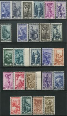 "Republic of Italy 1950/1957 – ""Italy Work' series, wheel watermark and stars, complete series – Sassone catalogue # 634–652 and 754–760"