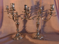 Set of silver candle stands, WOLFERS FRères - Brussels for BONEBAKKER - Amsterdam, ca. 1900