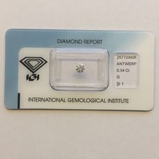 Natural diamond, 0.34 ct, colour G, clarity SI1, brilliant cut