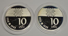 Latvia - 10 Latu 1993 '75th Anniversary - Declaration of Independence' (lot of 2 coins) - silver