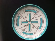 E.S.K.A.F,  Kiek Vander - Polychrome earthenware plate with abstract decor