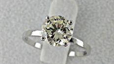 1.30 ct round diamond ring made of 14 kt white gold - size 7