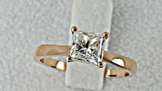 1.01 ct princess solitaire diamond engagement ring 14 kt made of rose gold - size 6.5