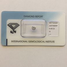 Natural diamond, 0.43 ct, colour G, clarity I1