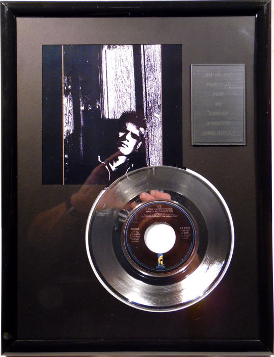 "U2  - I still haven't found what I'm looking for - 7"" Single Island Records platinum plated record Special Edition"