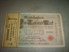 Germany - 2 x 20 x 1000 Reichsmark 1919 - Pick 44b - in bundle with original bank wrapper
