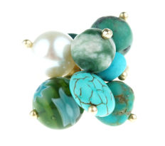 14 kt gold cocktail fantasy ring set with turquoise and pearls