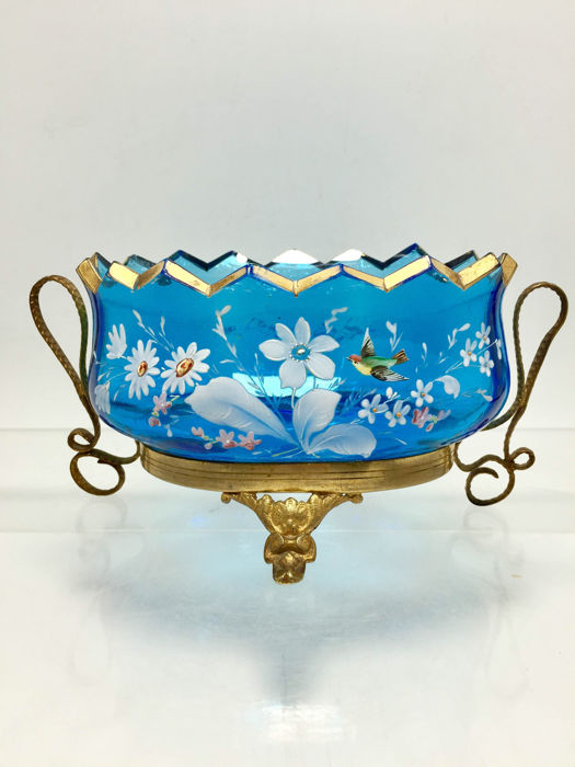 French Blue Glass bronze mounted Bonbonniere, France, circa 1900