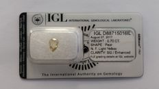 0.70ct  IGL Pear Fancy Light Yellow SI2 IGL Lab  -NO RESERVE