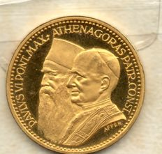 Italy - Commemorative medal 1964 'Meeting between Paolo VI and Athenagoras - gold