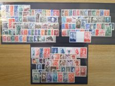 France 1941/1943 - 3 complete years without non-issued stamps - Yvert no. 470 - 598 and strips 571A and 580A
