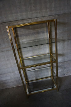 Unknown producer - Vintage Brass Shelving Unit in Hollywood Regency style