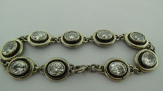 Silver bracelet with faceted rhinestone - Warsaw - 1940