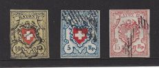 Switserland 1850/1852 – selection Rayon seals – Michel 8, 9, and 12.
