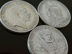 Empire, Prussia & Saxe-Weimar-Eisenach -- 3 × 2 marks from 1901 to 1911 -- silver
