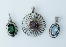 3 antique large pendants with natural stones