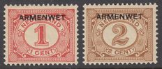 The Netherlands 1913 - Poor low, with overprint deviation - NVPH D1f + D3f