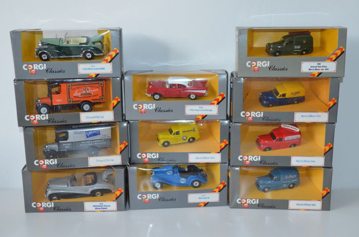 Corgi Classics - Scale 1/50 - Lot with 11 models: Morris, Thornycroft, Chevrolet & Rolls-Royce