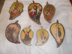 Christian Saints icons - 7 objects, in cypres old Wood - Greece