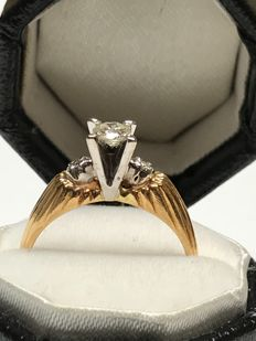 Vintage Engagement diamond 18k gold ring size 48