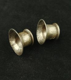 Vintage handmade silver stretching earrings – Golden Triangle (Karen Tribe), early 20h century