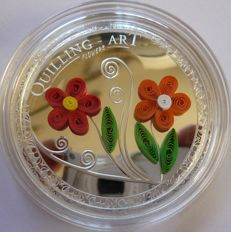 Cook Islands - 2 Dollars 2016 'Quilling Art - Flowers' - 1/2 oz silver