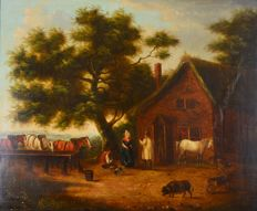 North European school (19th century) - Figures and animals outside a farmhouse