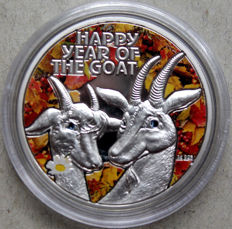 Niue - dollar 2015 'year of the goat' with colour application - silver