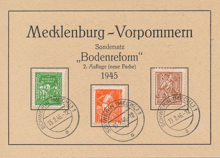 "Soviet zone - 1945 - Mecklenburg Vorpommern ""land reform"" 8 Pf. - 12 Pf. 2nd Edition on FDC Michel 23b-25b"