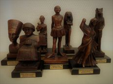 "Collection of seven traditionally crafted bronze statues ""Atlas Collection"""