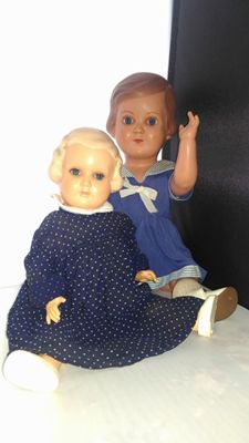 1 Minerva celluloid doll and 1 Storch doll