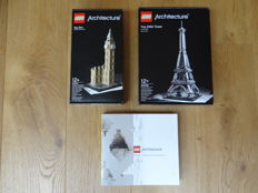 Architecture - 21013 + 21019 - Big Ben + Eiffel Tower + 21050 book / manual