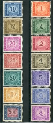 Italy, Republic, 1947–1954 – Postage due, wheel watermark, complete series – Sassone catalogue # 97–110
