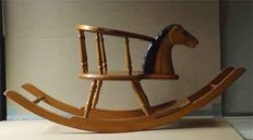 Exclusive rocking horse Circa. 1940 to 1950, lacquered beech wood - the Netherlands - designers brand illegible