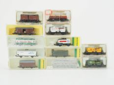 Trix N - 12x different goods wagons mostly of the DB