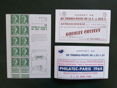 France 1955/1960 - Selection of 3 stamp booklets - Yvert booklets no. 1010-C1, 1011B-C39 and 1263-C4