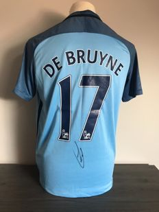 Kevin De Bruyne Manchester City home 16/17 shirt with photos of autograph moment and COA