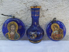 beautiful antique, lucky bringer set, of jesus christ and mother gods + holy water Gilded vase-Greece-20th century