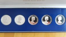 British Commonwealth - 5, 10 and 25 dollars 1978 'The Coronation Jubilee Crown Coins' (5 pieces) in set – silver